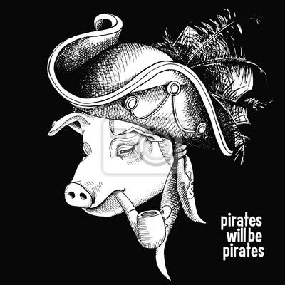 Obraz portret pirata świnią. ilustracji wektorowych.