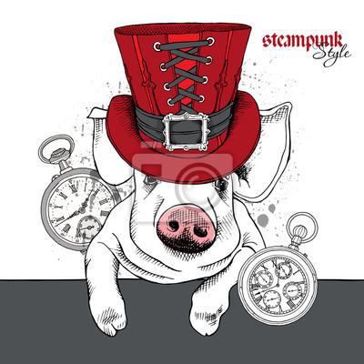Obraz portret wieprzowych w steampunk cylindrze iz zegarkiem. ilustracji wektorowych.