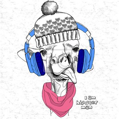 Obraz portret żyrafa w kapelusz i słuchawki. ilustracji wektorowych.