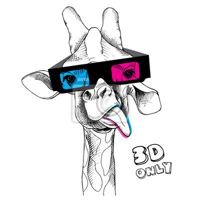 Obraz portret żyrafa w okularach 3D. ilustracji wektorowych.