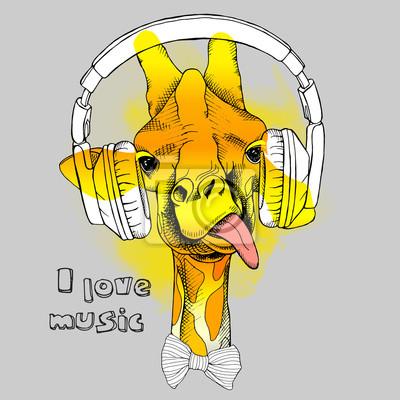 Obraz Portret żyrafa w słuchawkach. ilustracji wektorowych.