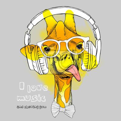 Obraz Portret żyrafa w słuchawkach iw okularach. ilustracji wektorowych.