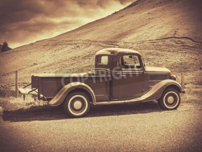 Plakat Obraz Retro Style Sepia z rocznika Truck Na Wsi
