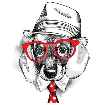 Obraz z portretem pies Jamnik w kapeluszu z okularami iz krawatem. ilustracji wektorowych.