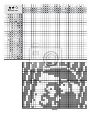 Plakat Obrazek Logiczne Zagadki Japońskie Krzyżówki Nonogram Dla Nowicjuszy