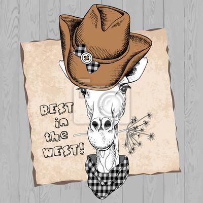 Obrazek z portretem żyrafa w kowbojski kapelusz i krawat. ilustracji wektorowych.