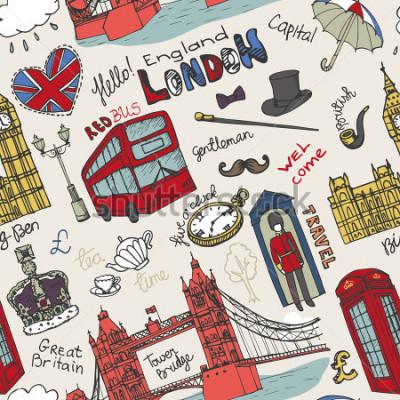 Plakat Obsługiwany londyński punkt zwrotny, pisze listę w kompleksowym wzorze Doodle ręcznie przygotować szkicowy. Ogromni architektoniczni zabytki, znak, symbole. Anglia, ikony, tło, tło, tapeta, tkanina