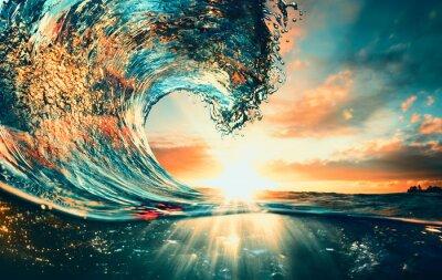 Plakat Ocean Wave sunset sea surfing background