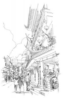 Plakat odręcznego szkicu chińskich budynków i ulicy miasta