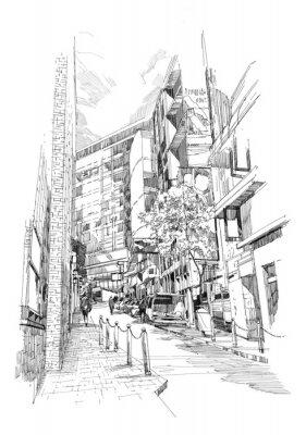 Plakat odręczny szkic starej alei miasta