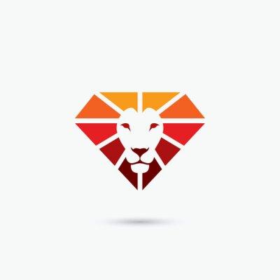 Plakat Ogień diament symbol lwa