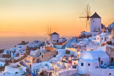 Plakat Oia słońca, na wyspie Santorini, Grecja