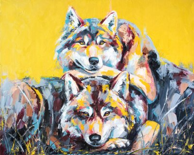 Plakat Oil wolf portrait painting in multicolored tones. Conceptual abstract painting of a couple wolves. Closeup of a painting by oil and palette knife on canvas.