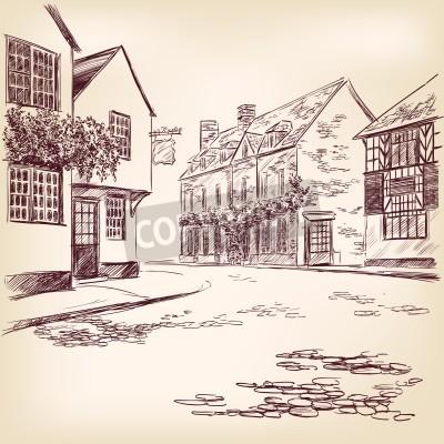 Plakat old English street  hand drawn