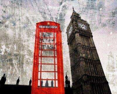 Plakat Old London Komponowanie Telefonzelle und Big Ben