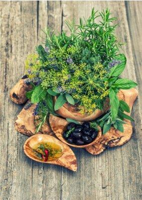 Plakat Oliwki, olej, zioła i przyprawy. Styl vintage stonowanych