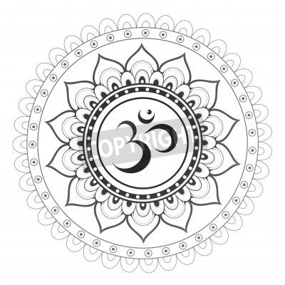 Plakat Om, Aum symbol mandali sanskryt z ornamentem