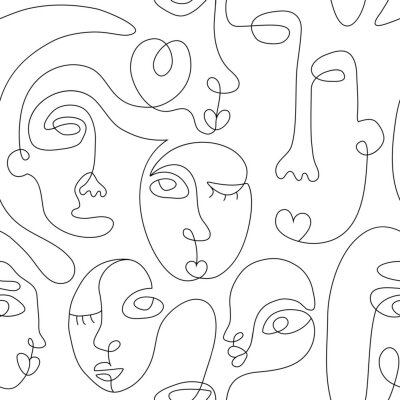 Plakat One line drawing abstract face seamless pattern. Modern minimalism art, aesthetic contour. Continuous line background with woman and man faces. Vector group of people