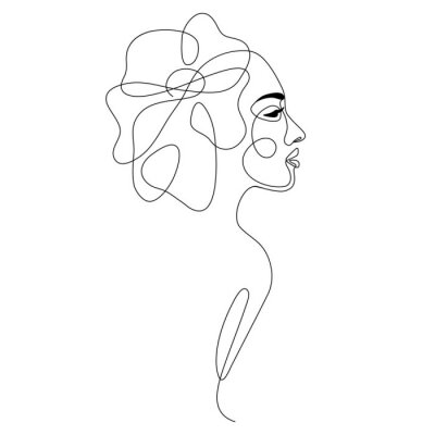 Plakat One line drawing abstract woman face with flower in her hair. Continuous line art female portrait. Modern minimalism, aesthetic contour. Vector beauty illustration