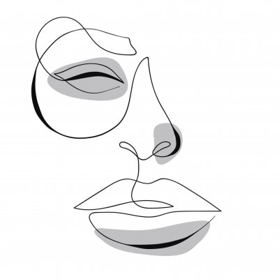 Plakat One line drawing face. Modern minimalism art, aesthetic contour. Abstract woman portrait minimalist style. Single line vector illustration