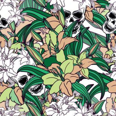 ? ool kolorowa bezszwowa wektorowa deseniowa tło ilustracja z, czaszek i lelui kwiatami. Moda boho modnego modnego stylu Oryginalny sztandar nastoletni. Halloween kreatywnie. Subkultura rockowa muzyka