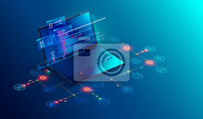 Plakat Oprogramowanie, tworzenie stron internetowych, koncepcja programowania. Streszczenie Programowanie języka i kodu programu na ekranie laptopa. Sieć firmowa laptopów i ikon. Proces technologiczny rozwoj