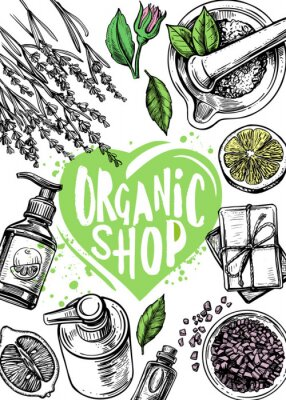 Plakat organic store cosmetics