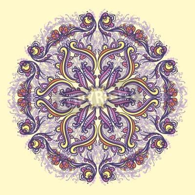 Plakat Ornamental round floral lace pattern  kaleidoscopic floral pattern, mandala