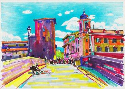 Plakat oryginalny malowanie markerem Rzym Włochy panoramę miasta