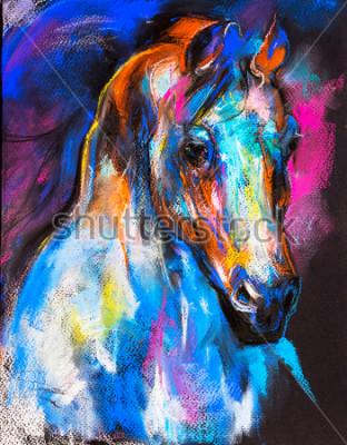 Plakat Oryginalny pastelowy obraz konia na tekturze. Sztuka współczesna.