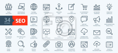 Plakat Outline web icons set - Search Engine Optimization. Thin line web icon collection. Simple vector illustration.