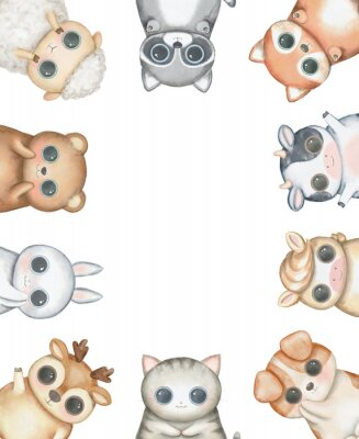 Plakat Oval frame composition with kawaii cartoon cute cat, dog, bear, fox, rabbit, cow, raccoon, deer, sheep and pony isolated on white background. Watercolor hand drawn illustration