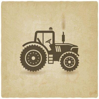 Plakat owalna etykieta z krajobrazu. Traktor w polu
