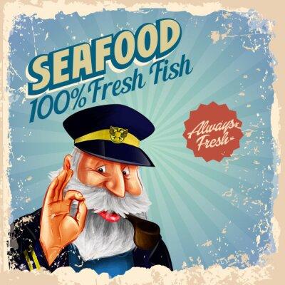 Plakat owoce świeże ryby kapitanem