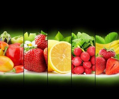 Plakat owoców i warzyw paskiem kolekcja na czarnym tle