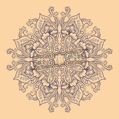 Plakat Ozdobne okrągły kwiatowy wzór koronki. kalejdoskopie kwiatowy wzór, mandala.