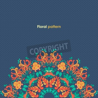 Plakat Ozdobne okrągły kwiatowy wzór koronki kalejdoskopie kwiatowy wzór, mandala
