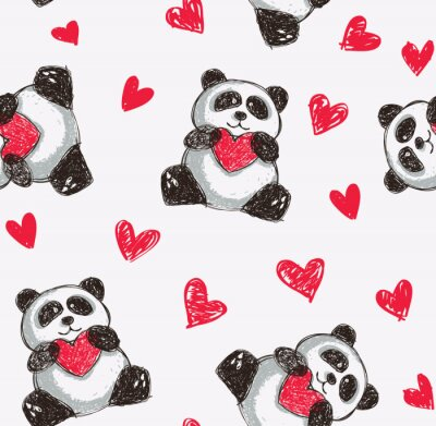 Plakat panda holding heart seamless background