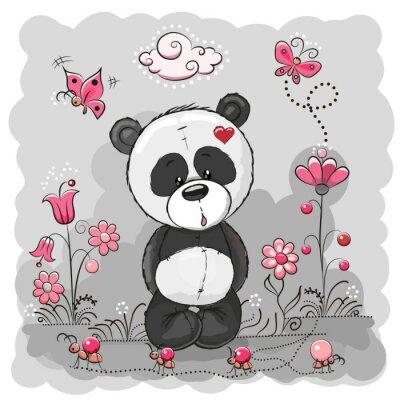 Plakat Panda z kwiatami
