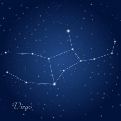 Plakat Panna gwiazdozbiór zodiakalny na rozgwieżdżone niebo