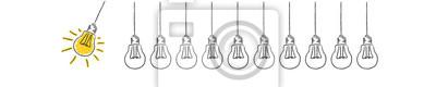 Plakat Panorama Banner Pendel aus Glühbirnen Idee Innovation
