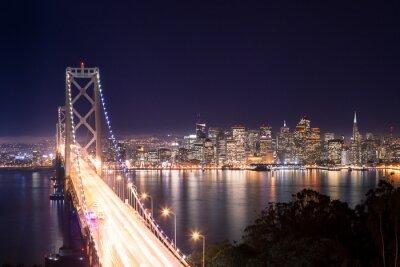 Plakat Panorama di San Francisco e Bay Bridge di notte
