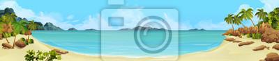 Plakat panorama morza. Bay, tropikalna plaża. tło wektor