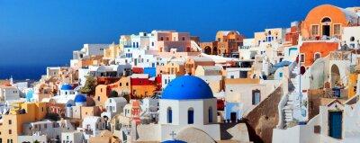 Plakat Panorama of famous greece city Oia. Santorini island