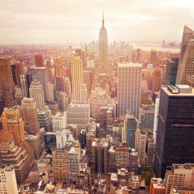 Plakat Panoramę Nowego Jorku z retro efekt filtra, USA.