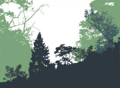 Plakat Panoramiczny krajobraz las z sylwetkami drzew