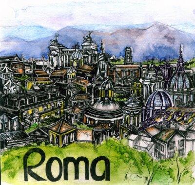 Plakat panoramiczny widok Roma akwarelą Unii Europejskiej