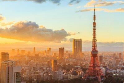 Plakat panoramiczny widok z Osaki z ostatnim piętrze najwyższego budynku