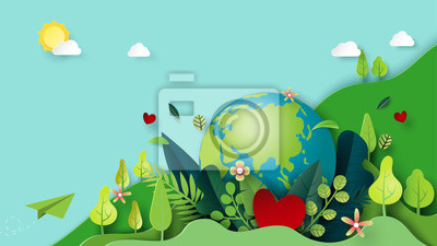 Plakat Paper art of green nature and earth day concept background template.Ecology and environment conservation concept.Vector illustration.