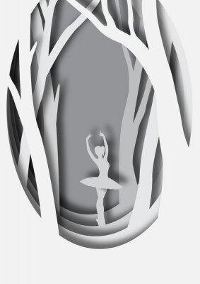 Plakat Papierowa rzeźba baleriny